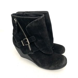 Blowfish Black Wedge Ankle Boots Buckle
